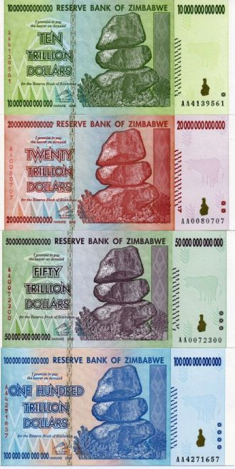 Zimbabwe Trillion Dollar Inflation Set 4 Notes 10 20 50 And 100