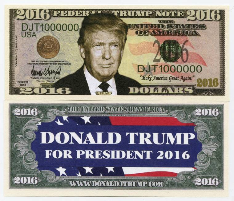 Donald Trump For President 2016 Us Presidential Election Color Novelty Note