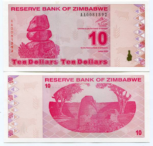 P  94   Uncirculated Banknotes ZIMBABWE 10  DOLLARS   2009