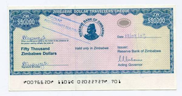 Zimbabwe Dollar Travellers Cheque 50 000 Check 2003