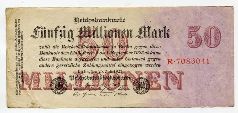 50 Million Mark Banknote 1923 Germany DUSSELDORF 50.000.000
