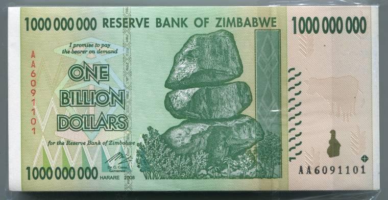 100 x Zimbabwe 1000 dollar bearer cheque banknote-1 bundle