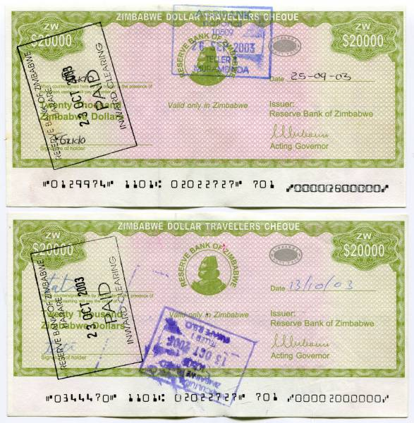 ZIMBABWE 2003 $20,000 BEARER CHEQUE P-23 UNCIRCULATED RARE FROM A USA SELLER !!!
