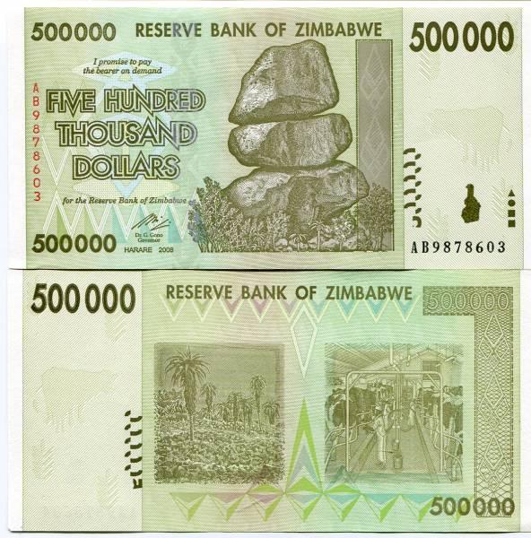 Zimbabwe 500 Thousand Dollars 100 Trillion Series 2008 P-76 Unc