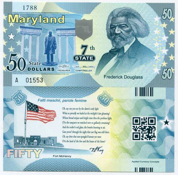 United States Maryland 50 Dollars 2014 7th State Polymer Commemorative Note Unc Usa Frederick Douglass Collectors Currency