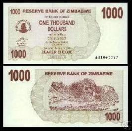 Zimbabwe 750 Thousand Dollars Bearer Cheque 2007 P52 UNC currency bill