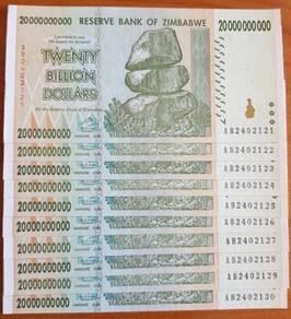 Genuine Zimbabwe 20 Billion Dollars 2008 Banknote XF P86 Inflation Currency